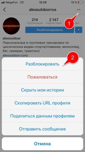 Разблокировка пользователя Инстаграм