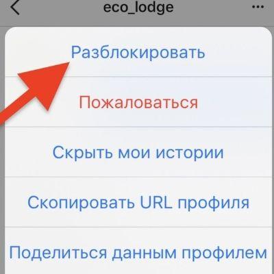 Как разблокировать человека в Инстаграме