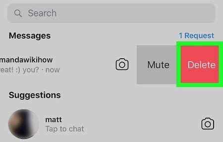 Удаление сообщения в Инстаграм Директе